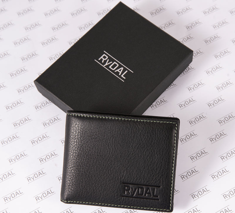Solaia Mens Leather Wallet with Coin Pocket from Rydal in 'Black/Green' with box.