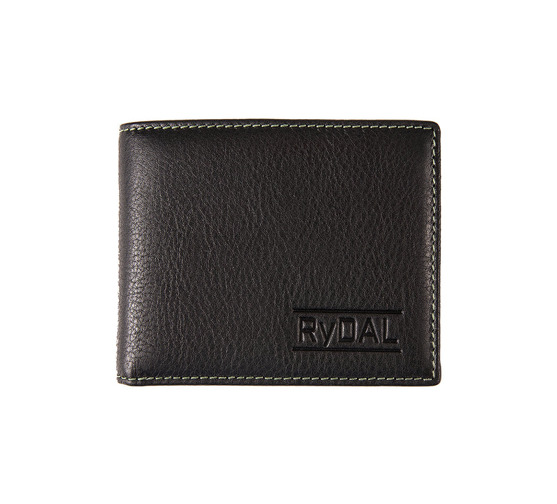 Solaia Mens Leather Wallet with Coin Pocket from Rydal in 'Black/Green'.