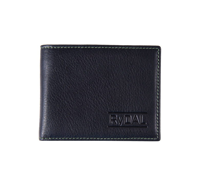 Solaia Mens Leather Wallet from Rydal in 'Black/Green'.