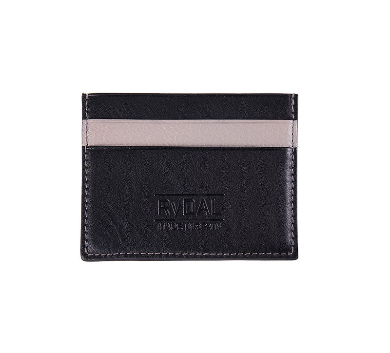Maiano Mens Leather Card Holder in 'Black/Grey'. Italian Leather. RFID protection.