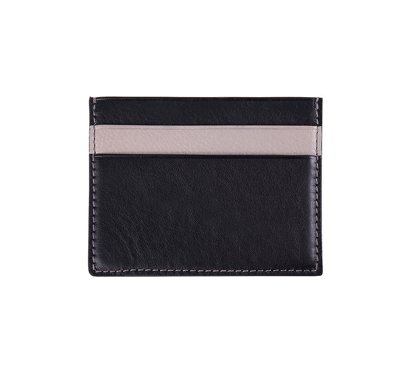 Maiano Mens Leather Card Holder in 'Black/Grey' showing reverse side. Italian Leather. RFID protection.