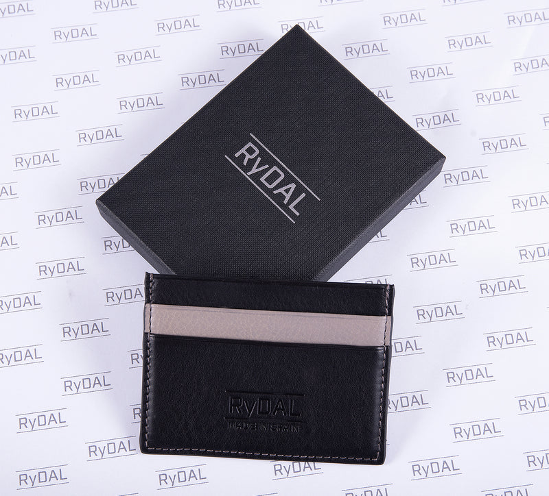 Maiano Mens Leather Card Holder in 'Black/Grey' with box. Italian Leather. RFID protection.