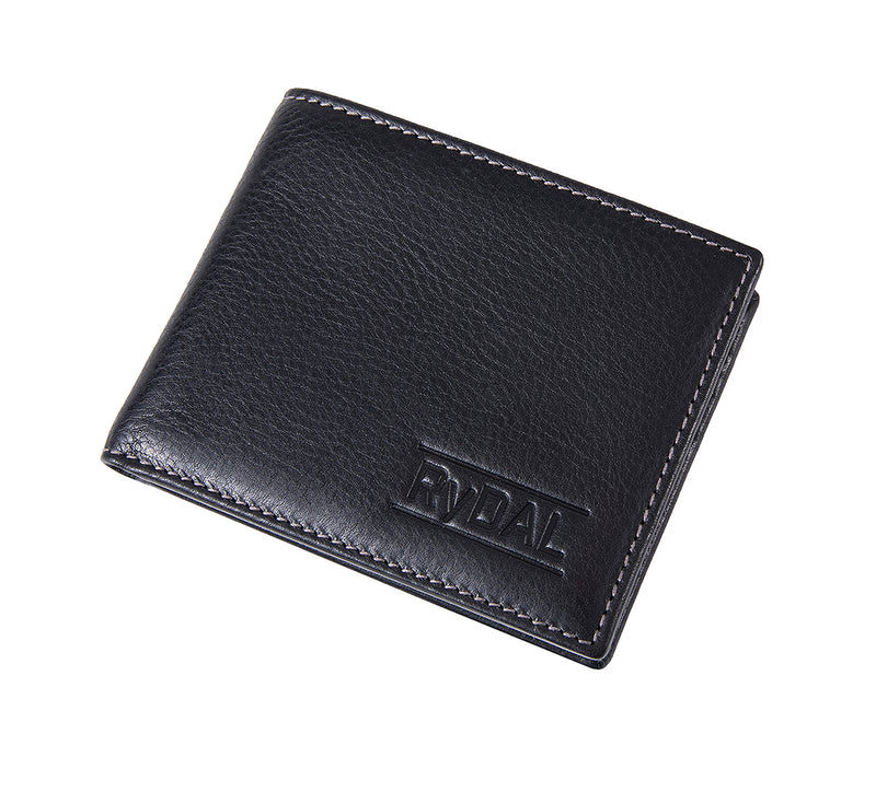 Solaia Mens Leather Wallet from Rydal in 'Black/Grey' showing wallet closed.