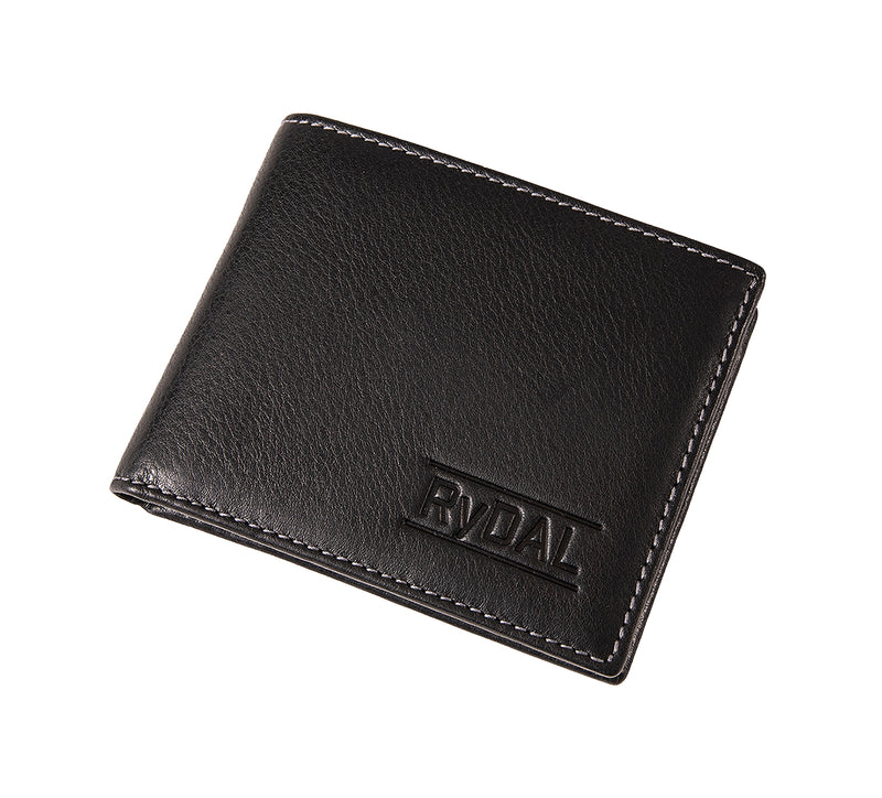 Solaia Mens Leather Wallet with Coin Pocket from Rydal in 'Black/Grey' showing wallet closed.