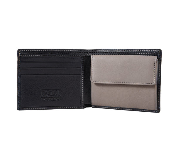 Solaia Mens Leather Wallet with Coin Pocket from Rydal in 'Black/Grey' showing interior.