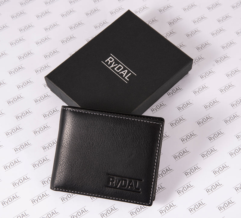 Solaia Mens Leather Wallet with Coin Pocket from Rydal in 'Black/Grey' with box.