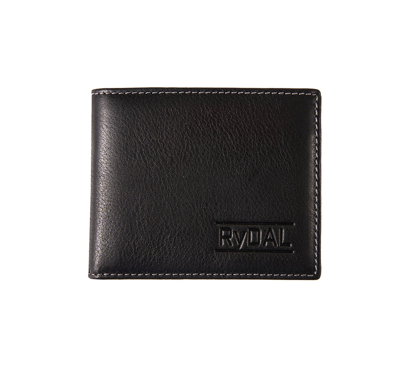 Solaia Mens Leather Wallet with Coin Pocket from Rydal in 'Black/Grey'.