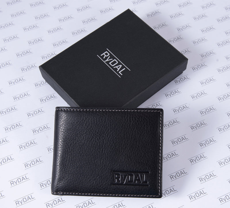 Solaia Mens Leather Wallet from Rydal in 'Black/Grey' with box.