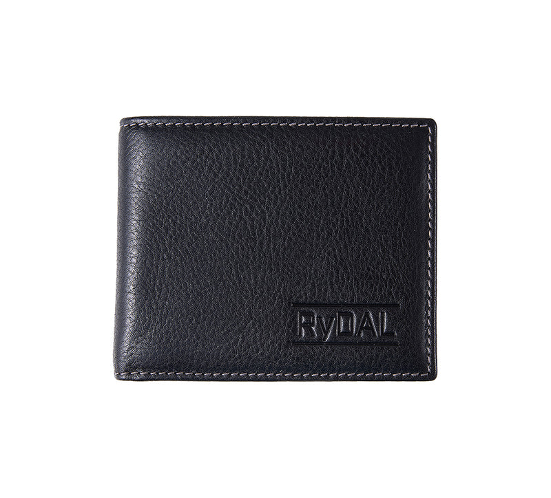 Solaia Mens Leather Wallet from Rydal in 'Black/Grey'.