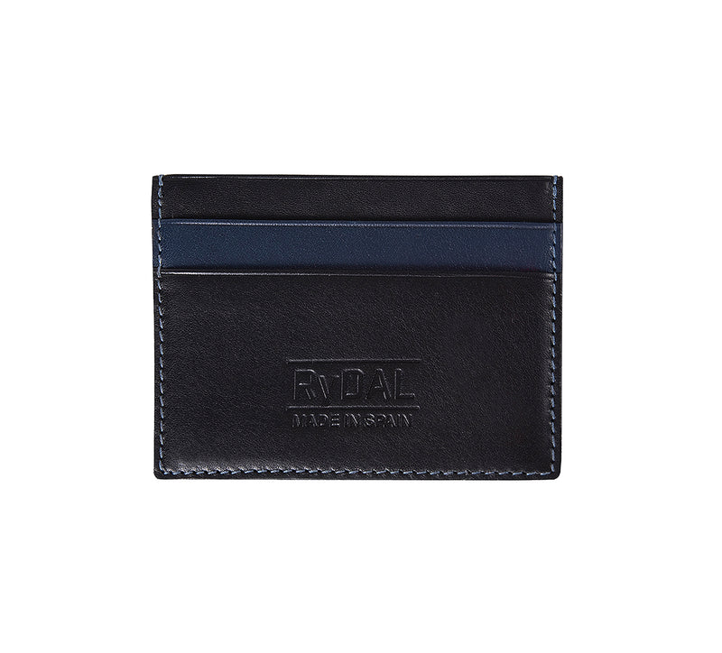 Maiano Mens Leather Card Holder in 'Black/Royal Blue'. Italian Leather. RFID protection.