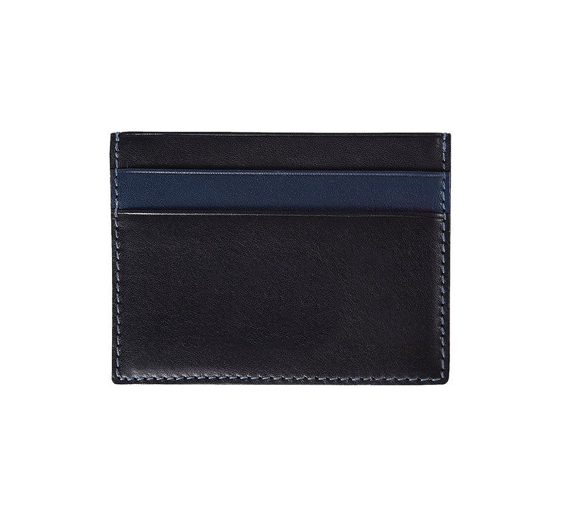Maiano Mens Leather Card Holder in 'Black/Royal Blue' showing reverse side. Italian Leather. RFID protection.