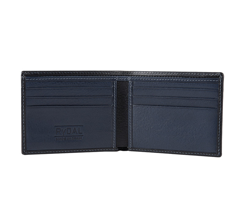 Solaia Mens Leather Wallet from Rydal in 'Black/Royal Blue' showing interior.