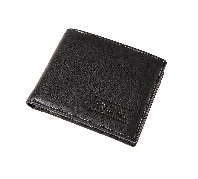 Solaia Mens Leather Wallet with Coin Pocket from Rydal in 'Black/Royal Blue' showing wallet closed.