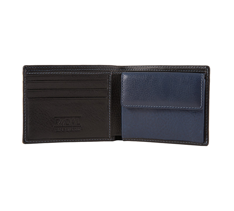 Solaia Mens Leather Wallet with Coin Pocket from Rydal in 'Black/Royal Blue' showing interior.
