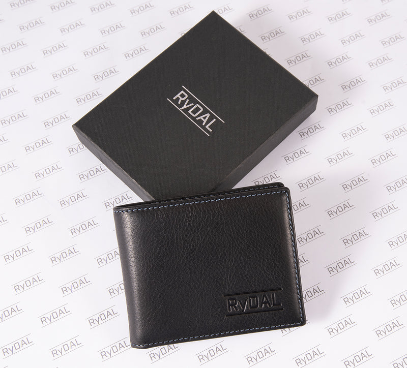 Solaia Mens Leather Wallet with Coin Pocket from Rydal in 'Black/Royal Blue' with box.