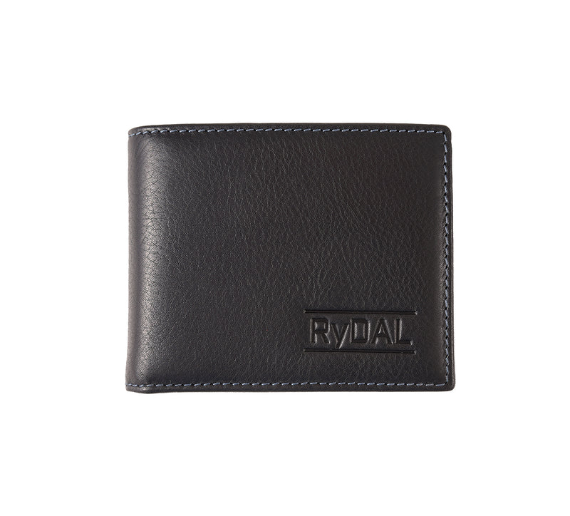 Solaia Mens Leather Wallet with Coin Pocket from Rydal in 'Black/Royal Blue'.