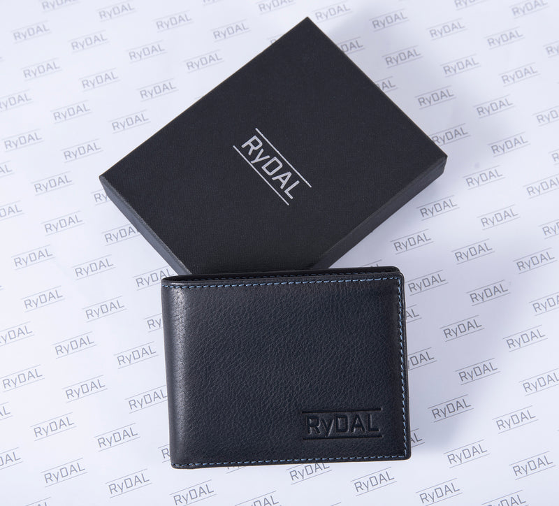 Solaia Mens Leather Wallet from Rydal in 'Black/Royal Blue' with box.