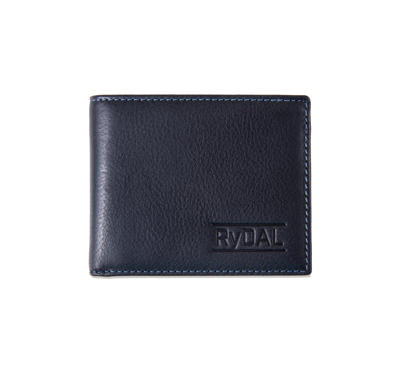 Solaia Mens Leather Wallet from Rydal in 'Black/Royal Blue'.