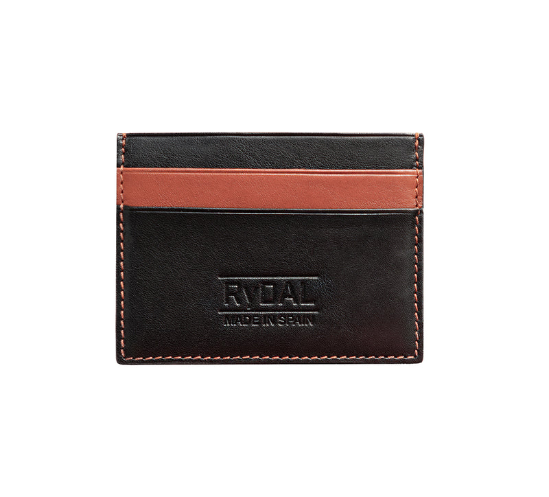 Maiano Mens Leather Card Holder in 'Black/Rust'. Italian Leather. RFID protection.