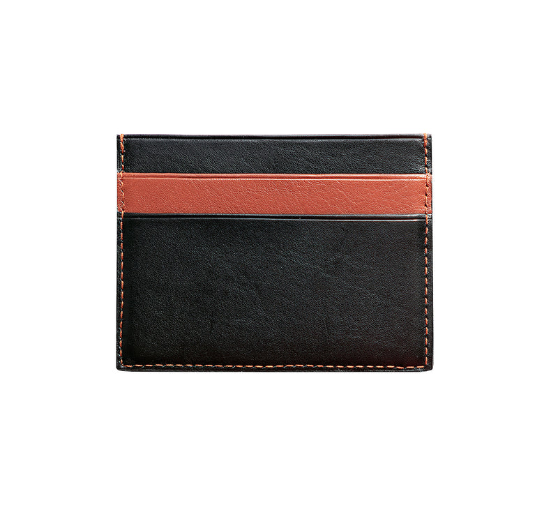 Maiano Mens Leather Card Holder in 'Black/Rust' showing reverse side. Italian Leather. RFID protection.
