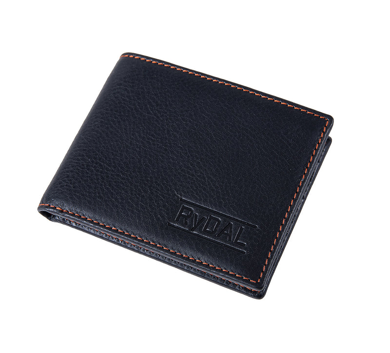 Solaia Mens Leather Wallet from Rydal in 'Black/Rust' showing wallet closed.
