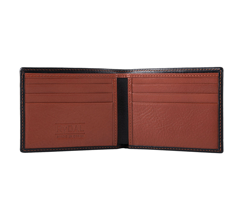 Solaia Mens Leather Wallet from Rydal in 'Black/Rust' showing interior.