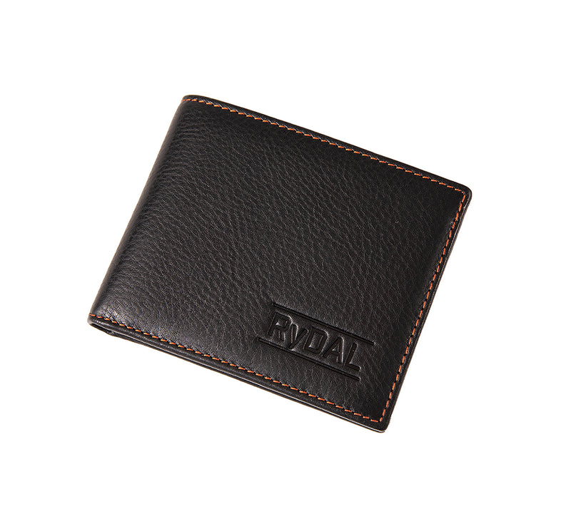 Solaia Mens Leather Wallet with Coin Pocket from Rydal in 'Black/Rust' showing wallet closed.
