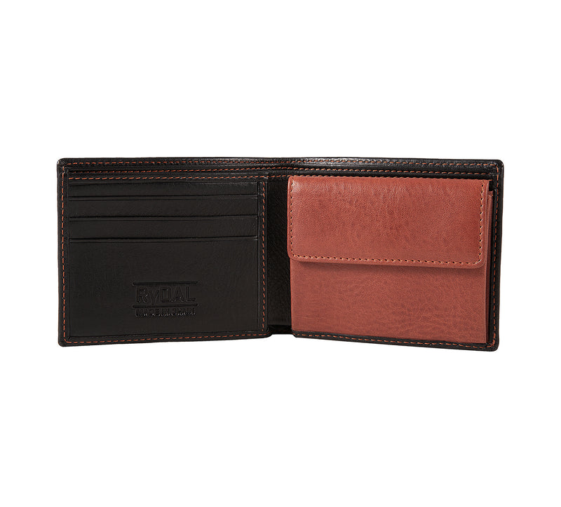 Solaia Mens Leather Wallet with Coin Pocket from Rydal in 'Black/Rust' showing interior.