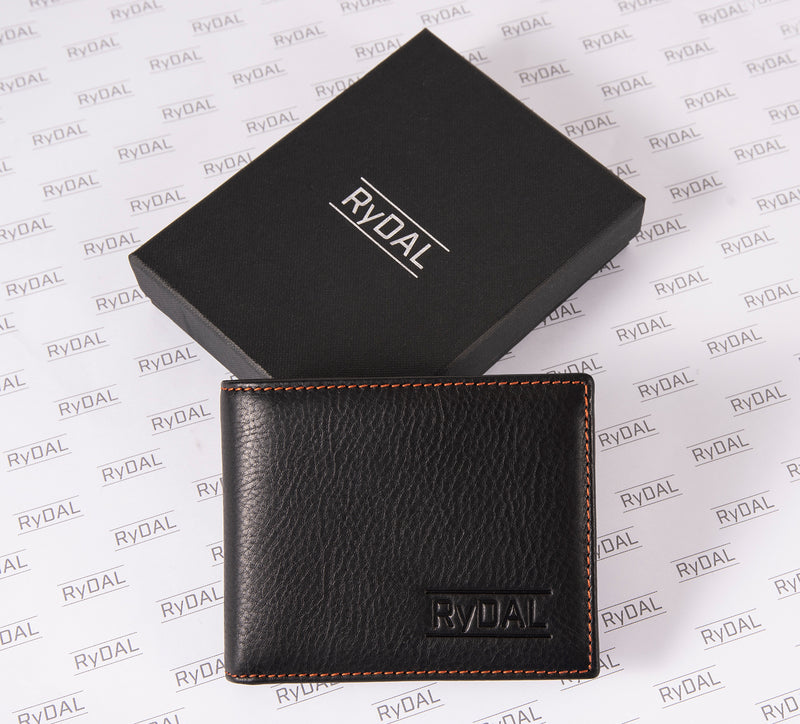 Solaia Mens Leather Wallet with Coin Pocket from Rydal in 'Black/Rust' with box.