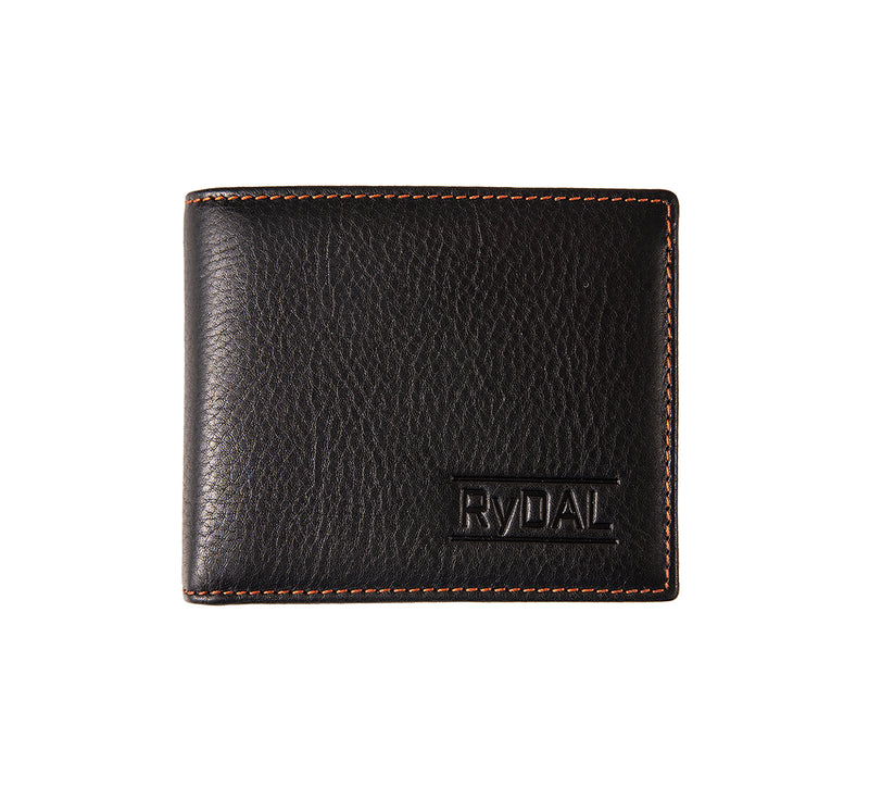 Solaia Mens Leather Wallet with Coin Pocket from Rydal in 'Black/Rust'.