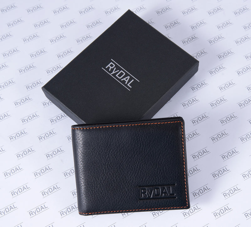 Solaia Mens Leather Wallet from Rydal in 'Black/Rust' with box.