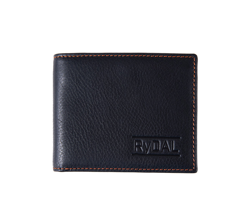Solaia Mens Leather Wallet from Rydal in 'Black/Rust'.