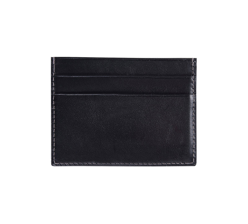 Maiano Mens Leather Card Holder in 'Black' showing reverse side. Italian Leather. RFID protection.