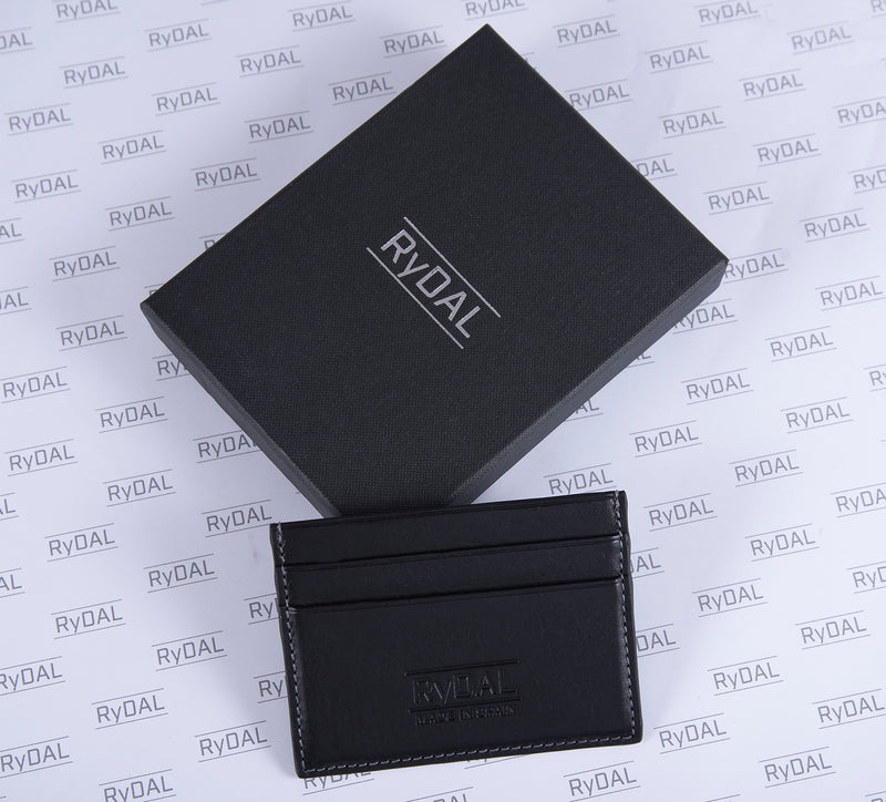 Maiano Mens Leather Card Holder in 'Black' with box. Italian Leather. RFID protection.