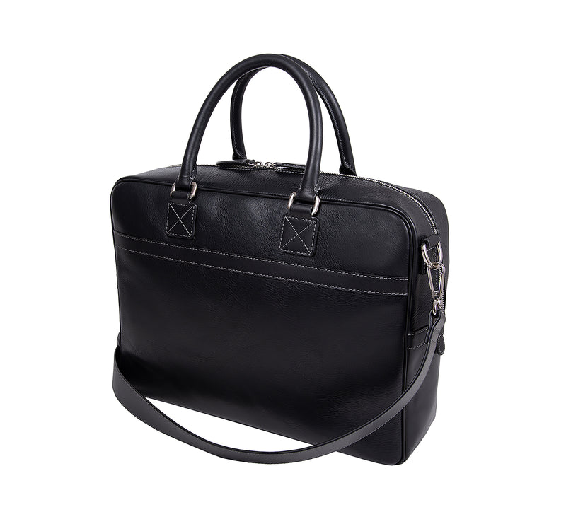 The Lexington Mens Leather Briefcase from Rydal in 'Black' showing rear.
