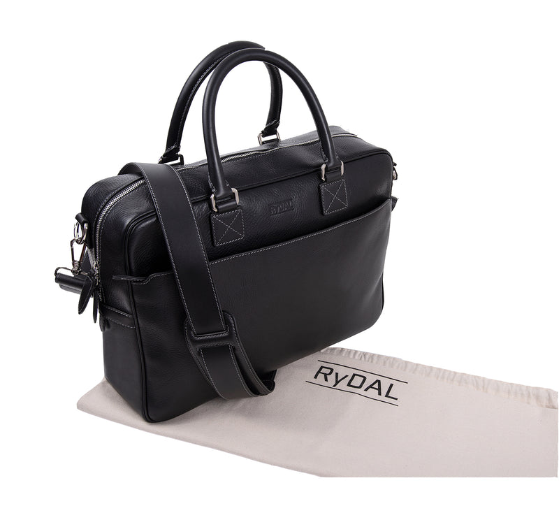 The Lexington Mens Leather Briefcase from Rydal in 'Black' with cotton bag.