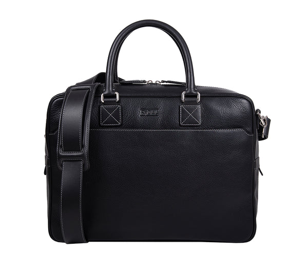 The Lexington Mens Leather Briefcase from Rydal in 'Black'.