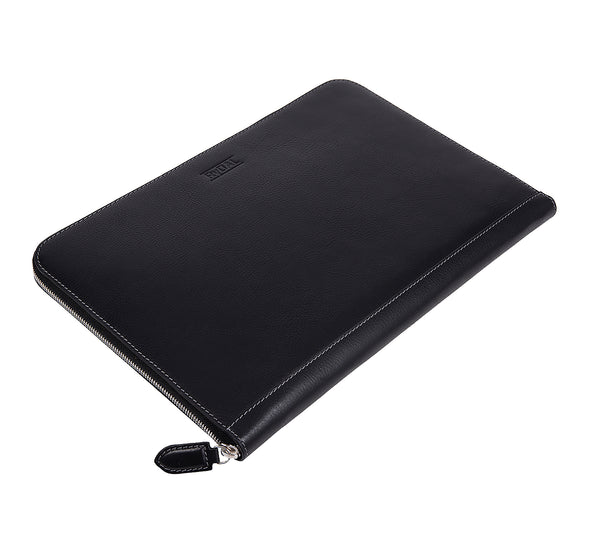 Albany Leather Document Holder from Rydal in 'Black' lying flat.