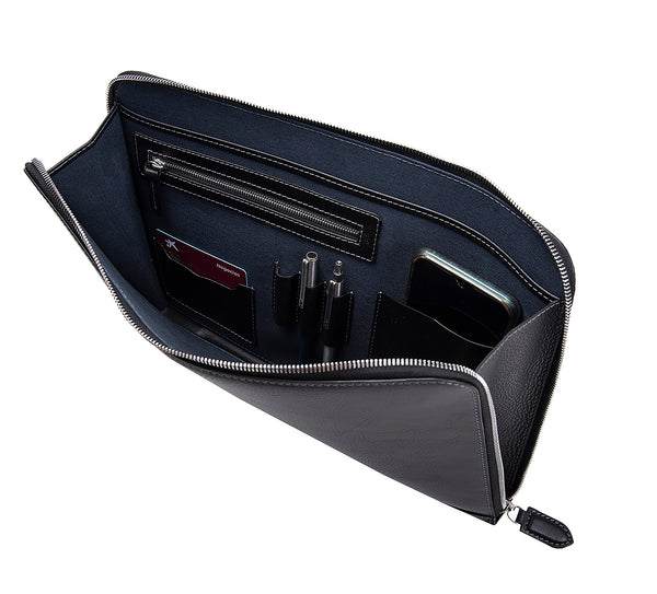 Albany Leather Document Holder from Rydal in 'Black' showing interior.