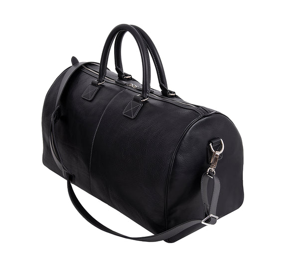 The Portland Mens Leather Travel Bag from Rydal in 'Black' showing side of bag.