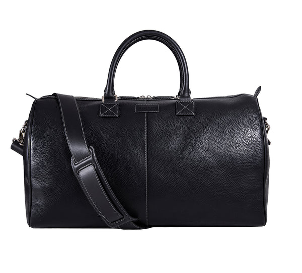 The Portland Mens Leather Travel Bag from Rydal in 'Black'.