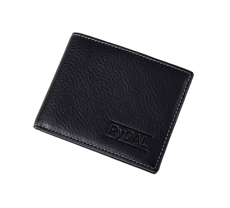 Solaia Mens Leather Wallet from Rydal in 'Black' showing wallet closed.