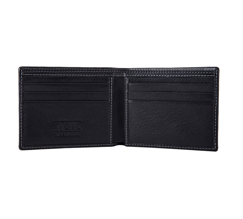 Solaia Mens Leather Wallet from Rydal in 'Black' showing interior.