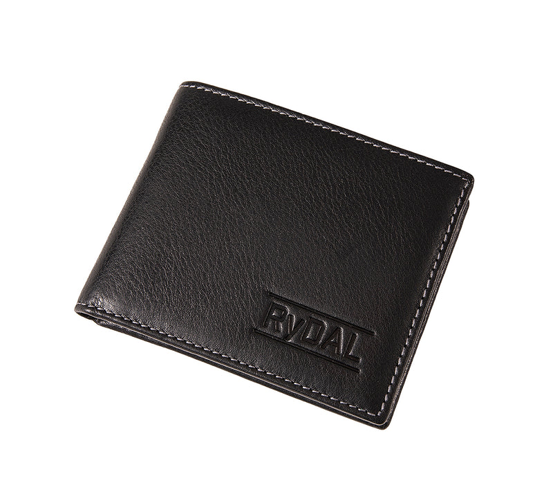 Solaia Mens Leather Wallet with Coin Pocket from Rydal in 'Black' showing wallet closed.