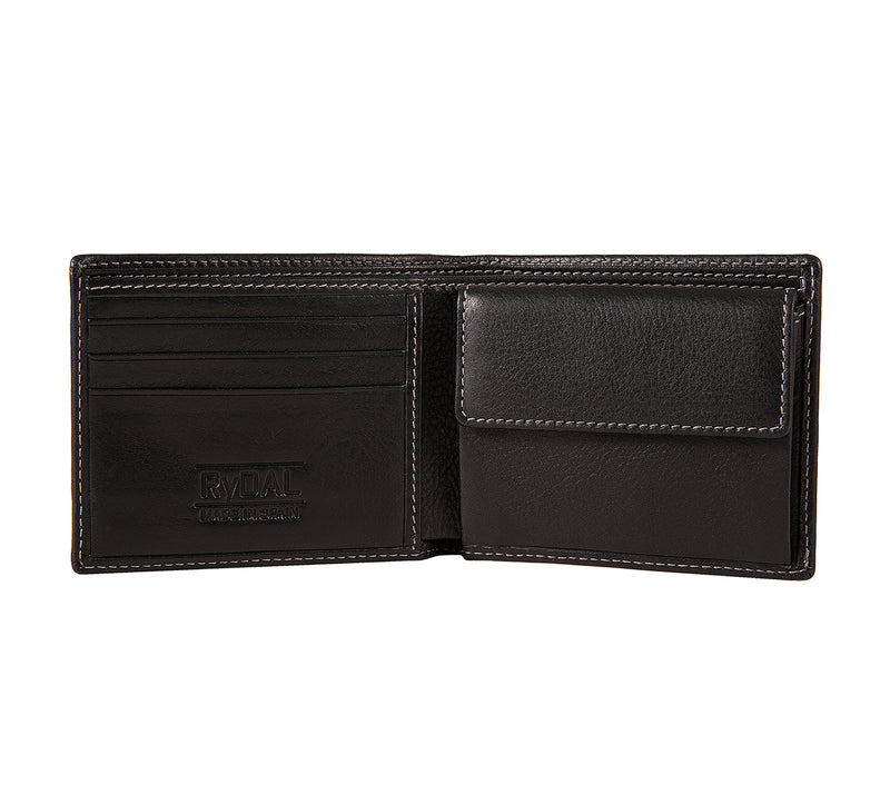 Solaia Mens Leather Wallet with Coin Pocket from Rydal in 'Black' showing interior.