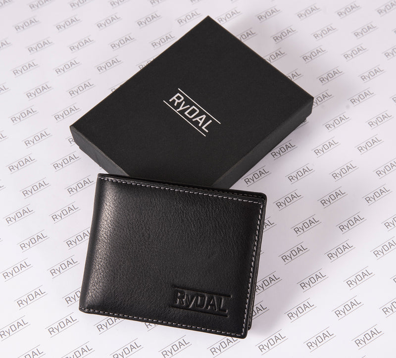 Solaia Mens Leather Wallet with Coin Pocket from Rydal in 'Black' with box.