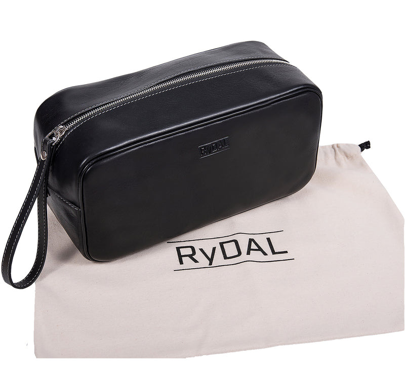 The Monterey Mens Leather Wash Bag from Rydal in 'Black' with cotton bag.