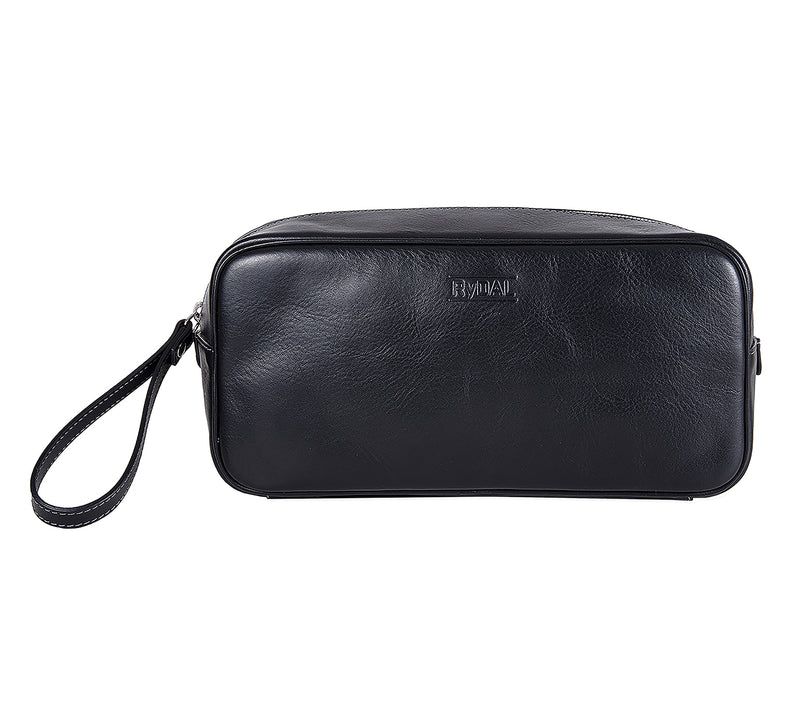 The Monterey Mens Leather Wash Bag from Rydal in 'Black'.