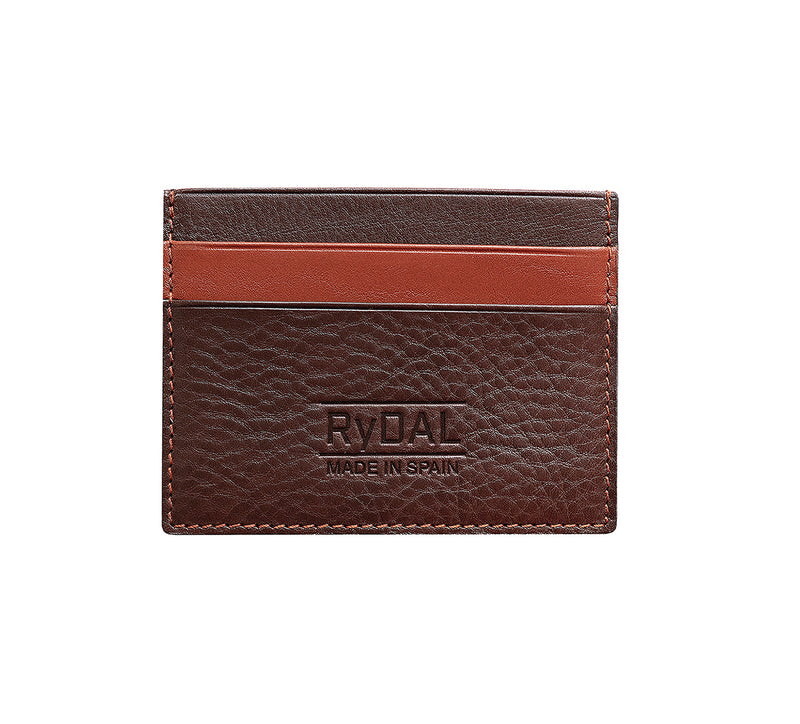 Maiano Mens Leather Card Holder in 'Dark Brown/Rust'. Italian Leather. RFID protection.