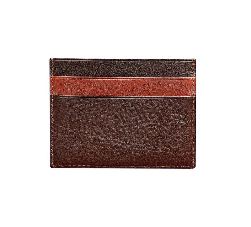 Maiano Mens Leather Card Holder in 'Dark Brown/Rust' showing reverse side. Italian Leather. RFID protection.